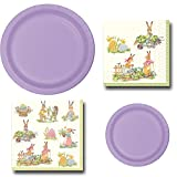 Lavender Bunny Rabbit Garden Party Bundle Serves 20 Includes Disposable Paper Plates and Napkins Bundle, 4 Items (Lavender)