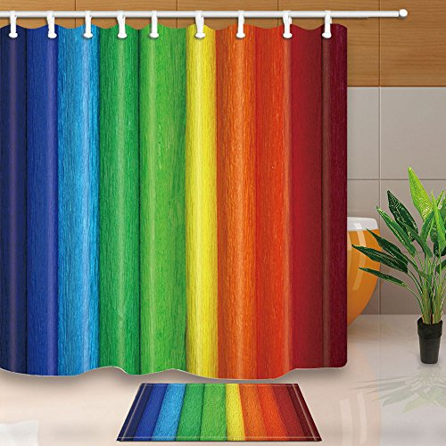 Wood Rainbow Colored (KOTOM Abstract Wood Decor, Rainbow Colored Striped Lines on Plank, 69X70in Mildew Resistant Polyester Fabric Shower Curtain Suit With 15.7x23.6in Flannel Non-Slip Floor Doormat Bath Rugs)