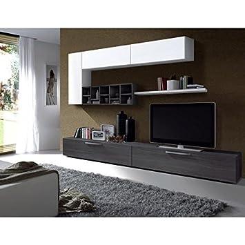 Deco Meuble Tv Mural 260 Cm Gris Blanc Amazon Fr Cuisine Maison