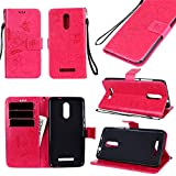 Anzeal Xiaomi Redmi Note 3 Case,Flowers Deisgn [Stand Function] [Card Slots] PU Folio Flip Wallet With Strap Magnetic Case Leather Protective Cover for Xiaomi Redmi Note 3 Red