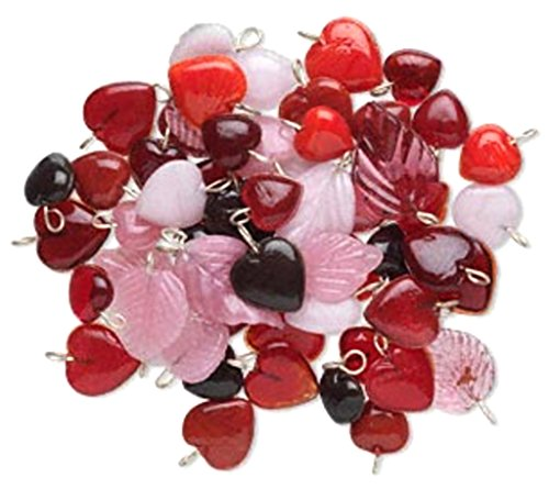 Glass Heart and Leaf Charms Beads Jewelry Design Mix Sold per 100 Gram pkg, Approximately 100 Drops (Pink Red Mix) ()