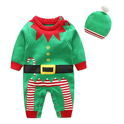 Fairy Baby Infant Baby Boy Girl 2Pcs Christmas Outfit Knit Sweater Jumpsuit Costume Set Size 6-9M (Green Clown)