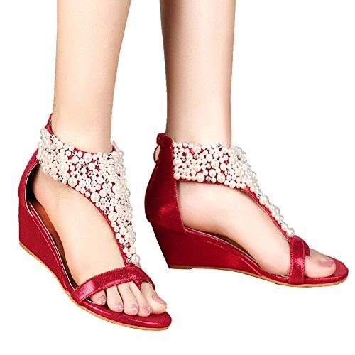 de mujer Red GetmorebeautyUpdate tacón Zapatos Tqwn7Fp
