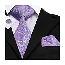 Hi-Tie Purple Woven Silk Tie Necktie Handkerchief Cufflinks Set for men