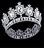 Wiipu Large Gemstone Crystal King Crown Wedding Prom Party Pageant,8.4'' Diameter(A1365) (White)