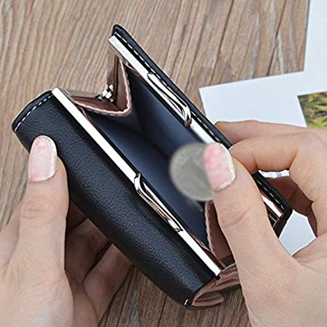 Topdo 1 Pcs Ladies Women Leather Wallet Purse with Side Secure Buckle Coin Pocket Blue