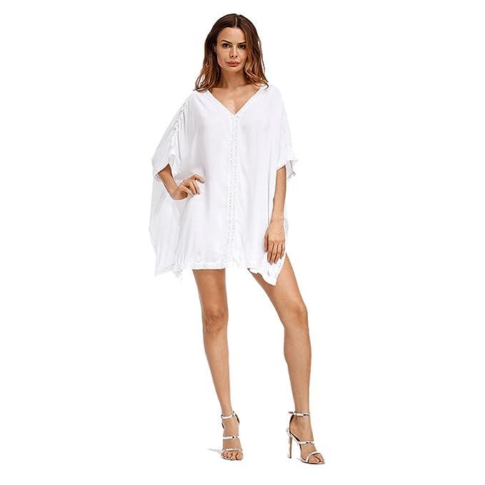 36411d14cb WJPT Bikini Mujer Cover Up Suelta Traje de baño Bloqueador Solar Cubierta  Vestido Ropa de Playa Blusa Camisa para Playa o Piscina Verano (Azul)   Amazon.es  ...
