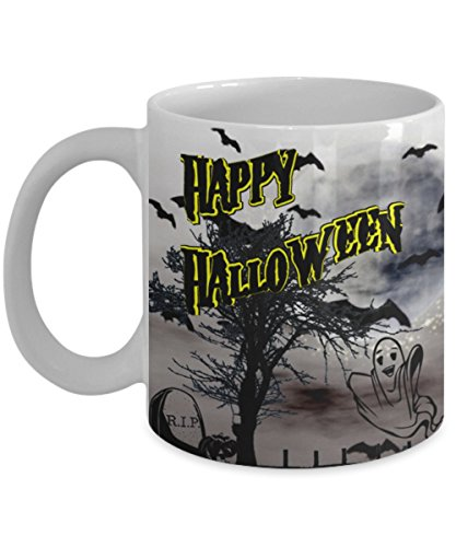 All Hallows Eve Mug (White)\ Happy Halloween, Ghost And Graveyard Image \ Mugs With Quotes by Vitazi Kitchenware, Ceramic Coffee Mug (11 Ounces)]()