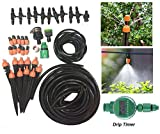 Fhede New Auto Drip Timer Micro Drip Irrigation Kit 33FT/50FT/65FT/82FT Irrigation Pipe,Irrigation Spray,Complete Irrigation Parts, for Flower Bed,Patio,Garden Irrigation Systems (Automatic set, 82FT)