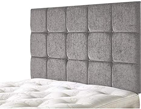 Kids Cube Headboard for Divan Bed Bedroom Decor Furniture Chenille Brown, Double 4 FEET 6 INCHES, Height 36 INCHES