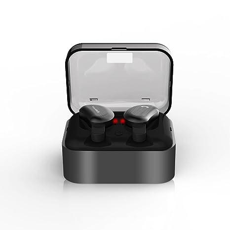 Auriculares Bluetooth,Syllable D9 Auriculares deportivos Estéreo Bluetooth 4.2 Manos Libres micrófono con Caja de Carga para iPhone y SmartPhones-Negro: ...
