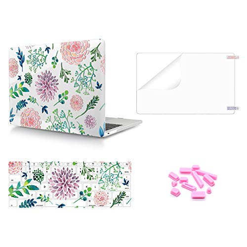 MMDW 4 in 1 Glossy Clear Plastic Print PC Hard Shell&Keyboard Cover&Screen Protector &Dustproof Plug for Mac New Pro 13 Inch Without Touch Bar A1708 A1988 2018 2017 2016 Release,Hand-Painted - Shell Hand Painted