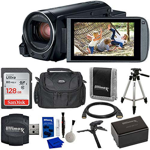 Canon VIXIA HF R800 Camcorder (Black) & 9PC Starter Accessory Bundle – Includes: SanDisk Ultra 128GB SDXC Memory Card + Extended Life BP727 Spare Battery (3000mAh) + 57″ Lightweight Tripod + More