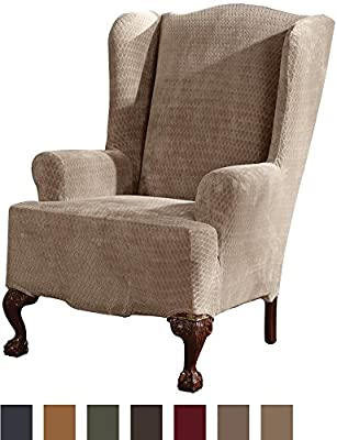 Sure Fit Stretch Royal Diamond - Wing Chair Slipcover - Gold
