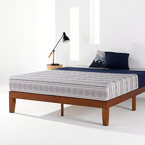 "Mellow 12"" Classic Soild Wood Platform Bed Frame w/Wooden Slats (No Box Spring Needed) Queen Cherry"