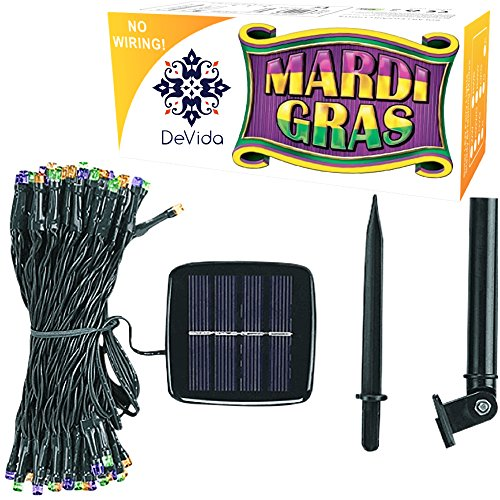 Mardi Gras Treats (DeVida Mardi Gras Solar Decorations Party String Lights, 100 Multi Color Mini LED 8 Mode Set, Outdoor Waterproof Lighting Decor, No Outlet Needed, in Purple, Orange (Gold), and Green)