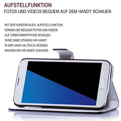 Apple iPhone 7 Handy Tasche mit Motiv Schutz Hülle aus PU Leder mit Kartenfächer und Standfunktion Etui Flip Case Wallet mit Blue Butterfly Abbildung Motiv: QBY-139