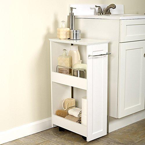 Kize 2 Shelf Rolling Bath Cart, Slimline Rolling Storage Shelf White By Kize