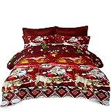 JSTextiles Christmas Bedding 4 Piece Duvet Cover Santa Claus Bedding Set Full Size 80'x90'' Cute Quilt Cover for Girls/Boys Gift(NO Comforter)