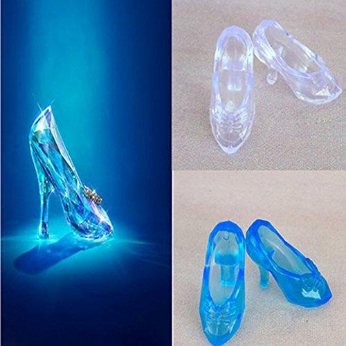 DSstyle 12Pairs Fashion Cute Princess High Heel Dress Pumps Fairy Tales Shoes Transparent for Barbie Dolls