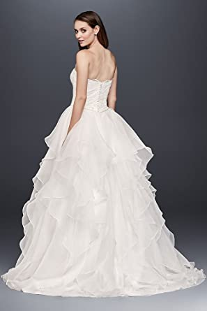 Lace And Organza Wedding Ball Gown Wedding Dress With Beading