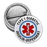 type 1 diabetes pins - TYPE 1 DIABETIC Insulin Dependent Medical Alert 1 Mini Pinback Button Badge