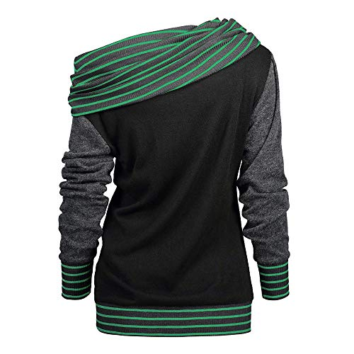 Button Sweatshirt Top Cowl Neck Tunic Tops Women Long Sleeve Stripe Color Block Button Side Slim Fit Blouse Sweatshirt Shirt (XXL, Mint Green)]()