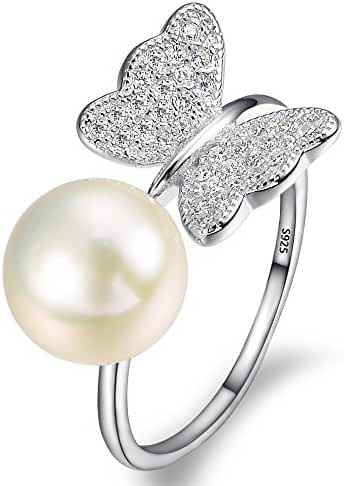 EleQueen 925 Sterling Silver CZ 9mm AAA Cream Freshwater Cultured Pearl Butterfly Bridal Cocktail Adjustable Open Ring