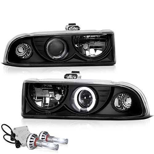 [Built-In CSP LED Low Beam] VIPMOTOZ LED Halo Ring Projector Headlight Headlamp Assembly For 1998-2004 Chevy S10 Pickup Truck & Blazer - Matte Black Housing, Driver and Passenger Side