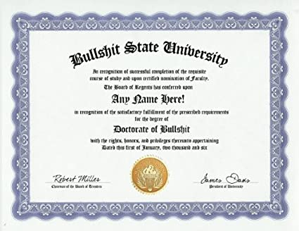 Amazon.com: Bullshit BS Degree: Custom Gag Diploma Doctorate ...