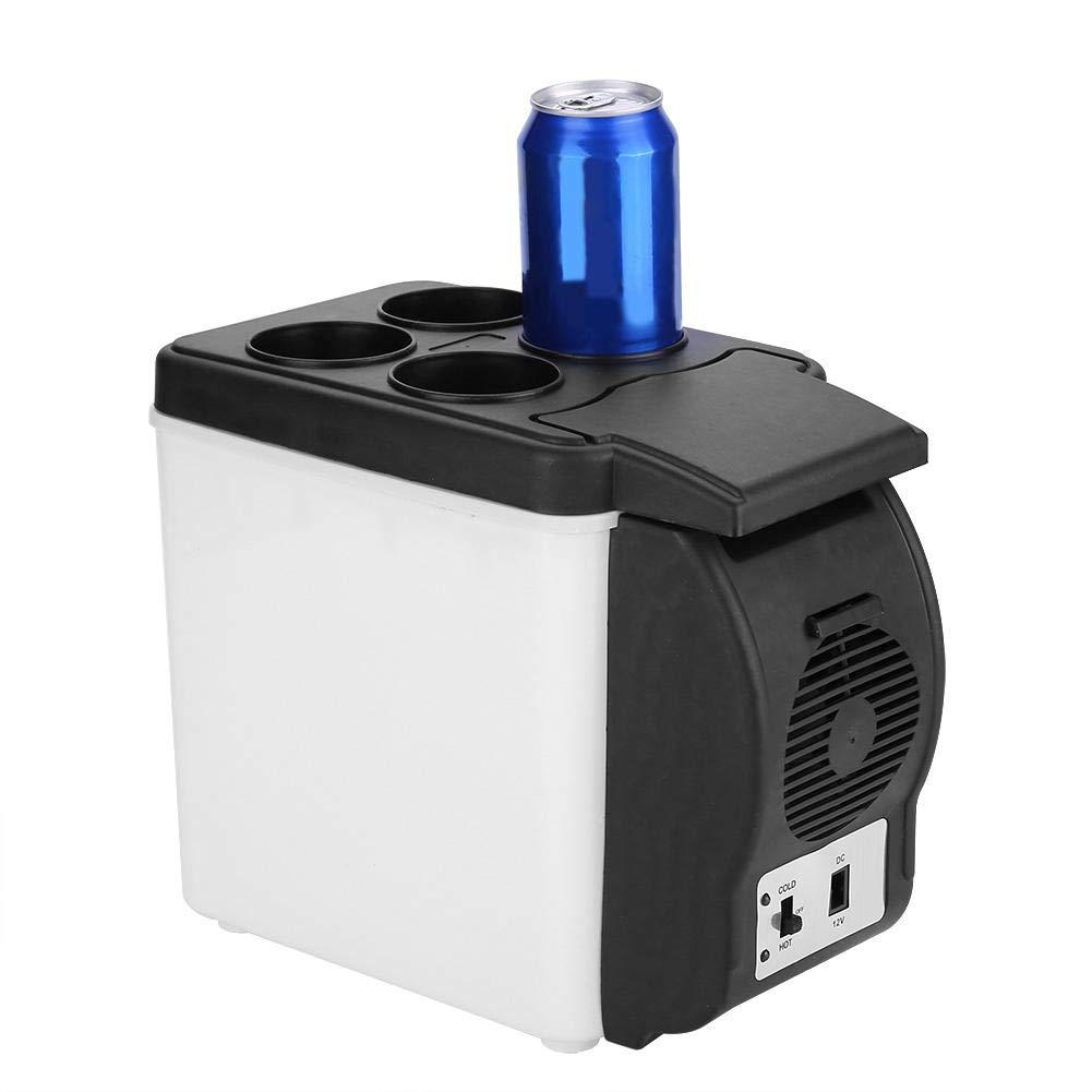 12V 6L Portable Car Refrigerator, Mini Multi-functional Fridge Electric Cooler Food Drinks Warmer Cooler Fridge for Car, Travel, Beach, Office 7.01x12.4x10.55in