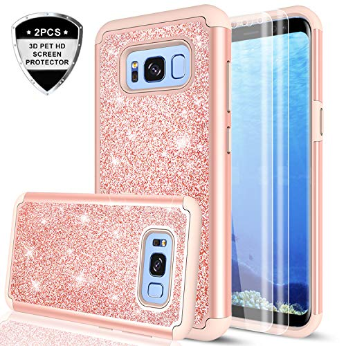 Galaxy S8 Case with 3D PET HD Screen Protector [2 Pack], LeYi Glitter Bling Girls Women Dual Layer Hybrid Heavy Duty Protective Phone Case for Samsung Galaxy S8 TP Rose Gold