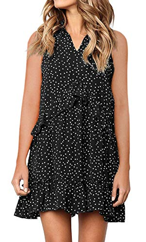 MIROL Women's Sleeveless V Neck Ruffle Polka Dot Loose Fit Casual Swing Short T-Shirt Dress Black