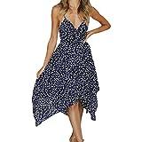 Vincent&July Women Dress Boho Backless Dot Print Off-Shoulder Beach Dress (Large, Navy Blue)