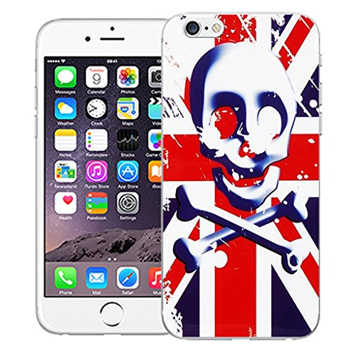 """Mobile Case Mate iPhone 6 Plus 5.5"""" Silicone Coque couverture case cover Pare-chocs + STYLET - Red Skull Flag pattern (SILICON)"""