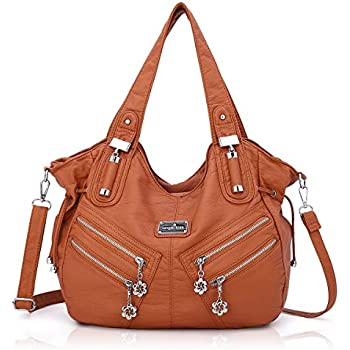 Women Handbags Shoulder Bags Washed Leather Satchel Tote Bag Mutipocket Purse (AK1135#6802#173BROWN)