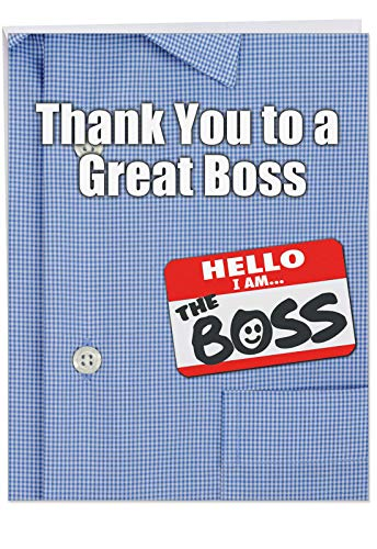 8.5 x 11 Inch Greeting Card with Envelope - Big 'Thank You to a Great Boss' - Best Boss, CEO, Manager Award Gift - Appreciation for Personalized Thanks J9108 (Best Funny Workplace Awards)