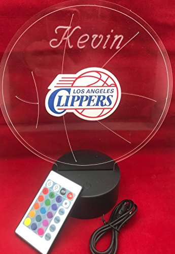 Lamp Nba Clippers - LA Beautiful Handmade Acrylic Personalized Clippers NBA Basketball Light Up Light Lamp LED Table Lamp, Our Newest Feature - It's WOW, With Remote,16 Color Options, Dimmer, Free Engraved, Great Gift