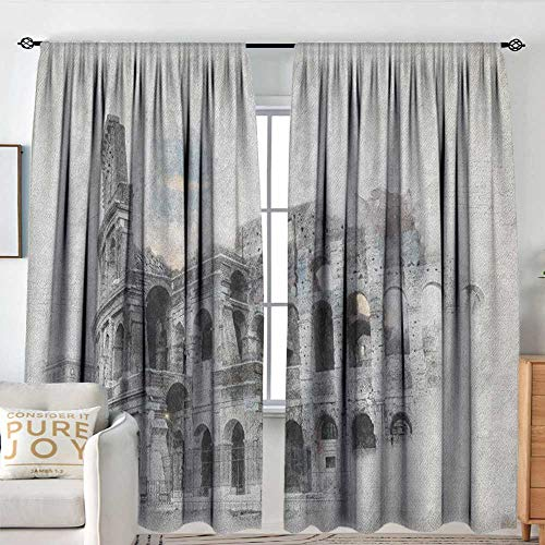 Blackout Curtains for Bedroom Sketchy,Ancient Historical Ruins Colosseum Artwork Italy Rome Antique Cultural Inspiration, Beige Black,Thermal Insulated Darkening Panels for Cafe Windows 60