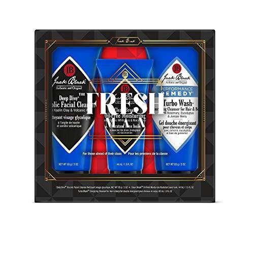 JACK BLACK - The Fresh Man Set - Clean Break Oil-Free Moisturizer, Turbo Wash Energizing Cleanser, Deep Dive Glycolic Facial Cleanser. 3-Piece Kit.
