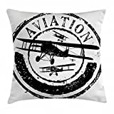 Ambesonne Vintage Airplane Decor Throw Pillow Cushion Cover, Grunge Stamp Design with Word Aviation and Airplane Silhouettes, Decorative Square Accent Pillow Case, 18 X 18 Inches, Black and White