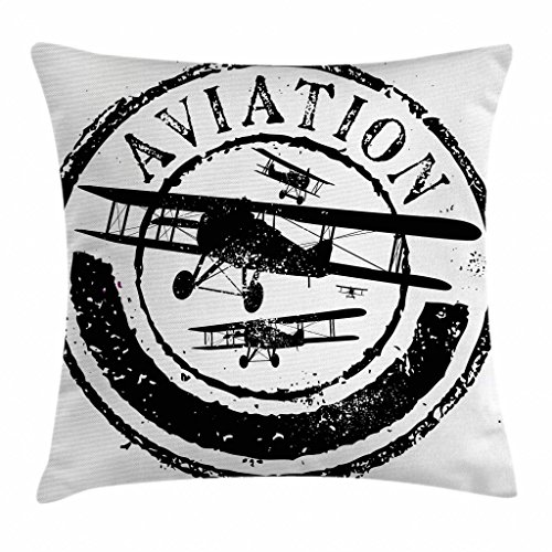 Ambesonne Vintage Airplane Decor Throw Pillow Cushion Cover, Grunge Stamp Design with Word Aviation and Airplane Silhouettes, Decorative Square Accent Pillow Case, 16 X 16 Inches, Black and White