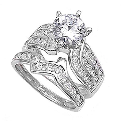 Sterling Silver Designer Engagement Ring Wedding Band Bridal Set Size 4 (RNG20049-4)