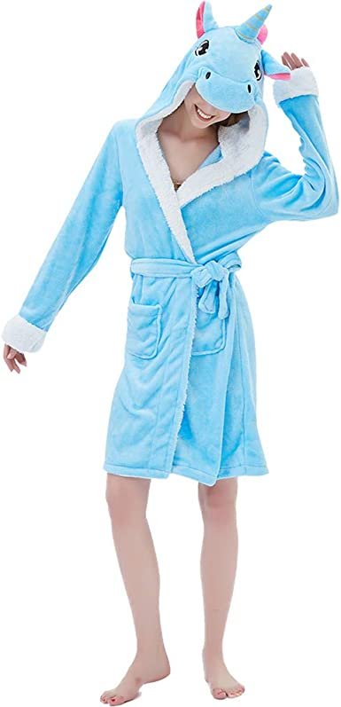 Purple and White Robe Unicorn Robe for Girls; Extra Plush Turquoise Blue