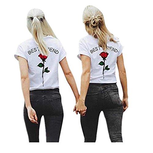 Femmes meilleures lettres d'ami Rose T-shirts imprim