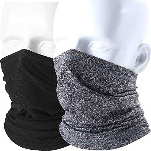 AXBXCX 2 Pack Neck Gaiter Cover Neck Warmer Lightweight Face Mask - Tube Headband Scarf Headwear Bandana Windprood Dust Sun Protection for Ski Snowboard Fishing Hunting Cycling Motorcycle Black &Gray ()