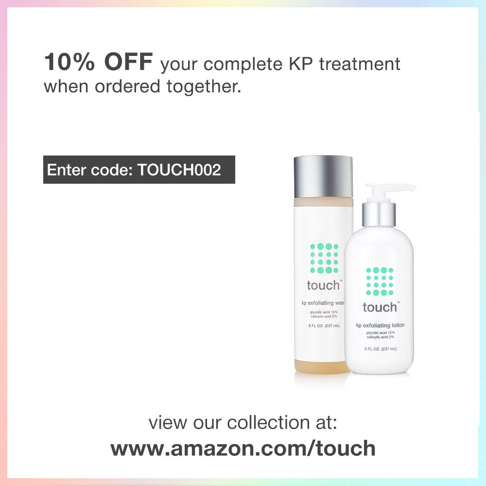 Touch Keratosis Pilaris & Acne Exfoliating Body Wash Cleanser - KP Treatment with 15% Glycolic Acid, 2% Salicylic Acid, Hyaluronic Acid - Smooths Rough & Bumpy Skin - Gets Rid Of Redness, 8 Ounce by TOUCH (Image #6)