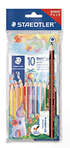 (Staedtler Jumbo Crayons Noris Club, Increased Breaking Strength, Triangular Shape, ABS System, Child-Friendly According to DIN EN71, Set of 10 Brilliant Colors, Eraser and Pencil, 61 SET7.)
