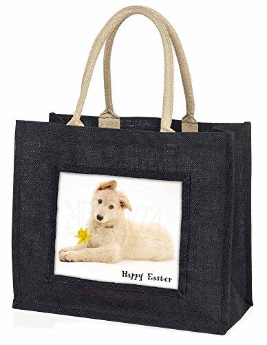 Advanta Happy Ostern weiß Deutscher Schäferhund Große Einkaufstasche/Weihnachtsgeschenk, Jute, schwarz, 42x 34,5x 2cm