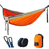 "Double Camping Hammock - Lightweight Nylon Portable Hammock with Tree Straps, Parachute Double Hammock For Backpacking/Camping/Travel/Beach/Yard. 118""(L) x 78""(W) (Grey/Orange)"